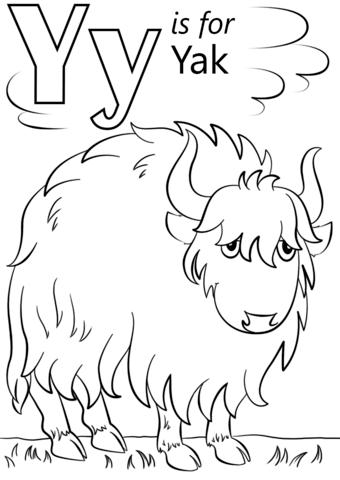 Yak clipart colouring page. Letter y is for
