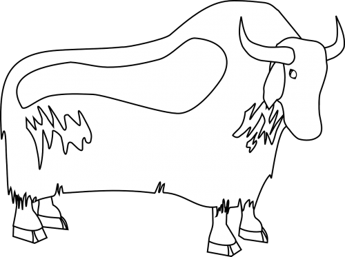 Yak clipart outline. Cartoon cute funny free