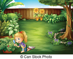 Yard clipart clean backyard. Garden and stock illustrations svg library stock