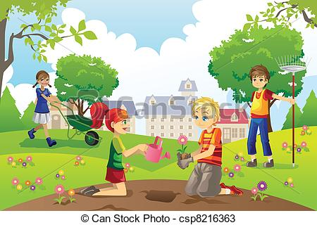 Yard clipart clean backyard. Gardening kids a vector graphic black and white library