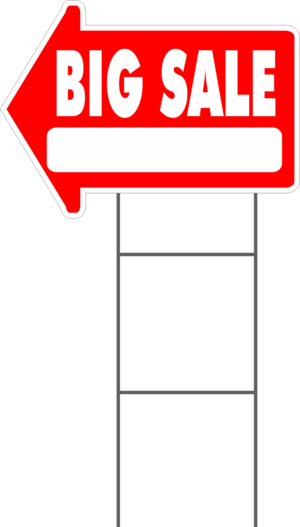 Yard sale sign png. Arrow shaped with frame