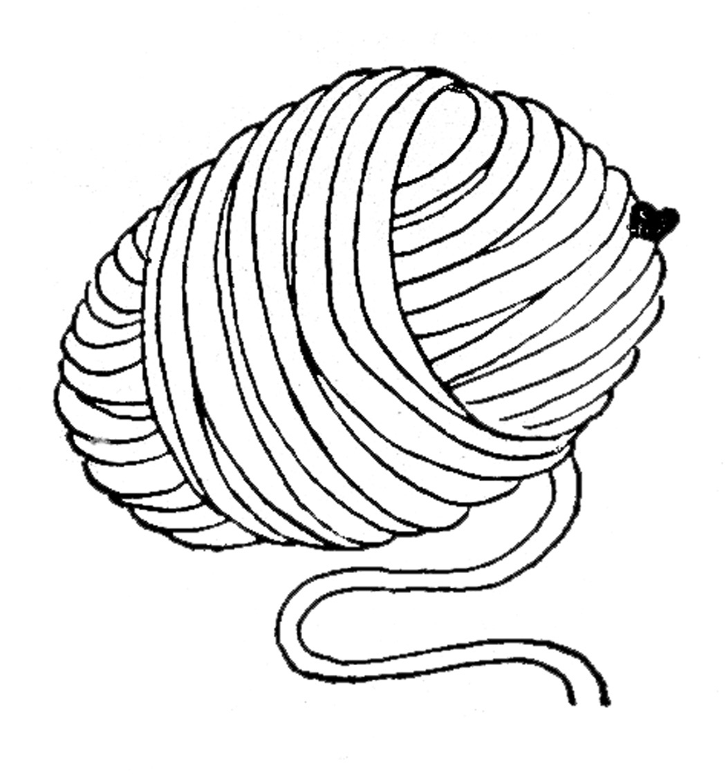 Yarn clipart. Black and white letters