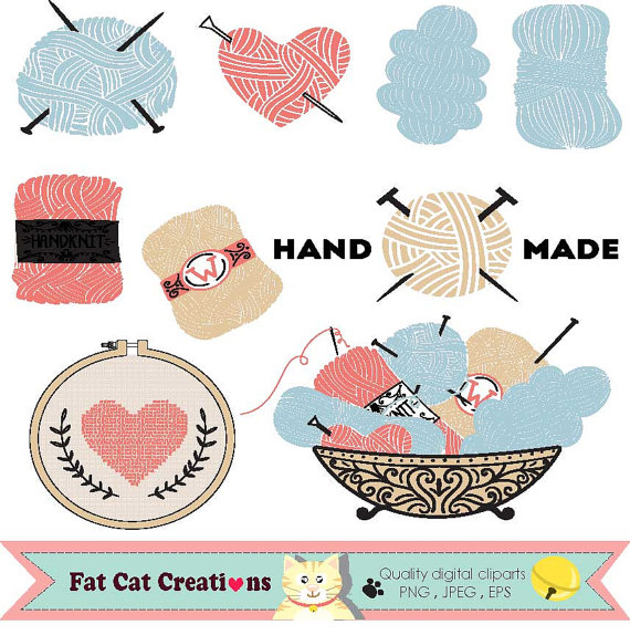 Yarn clipart craft. Knitting hobby handmade illustration