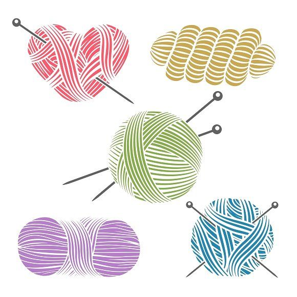 Yarn clipart craft. Hand drawn for knitting
