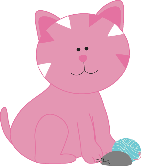 Balls clipart cat. Pink kitten with a