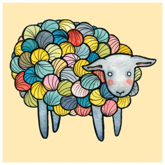 Yarn clipart sheep. Illustration print x multicolor