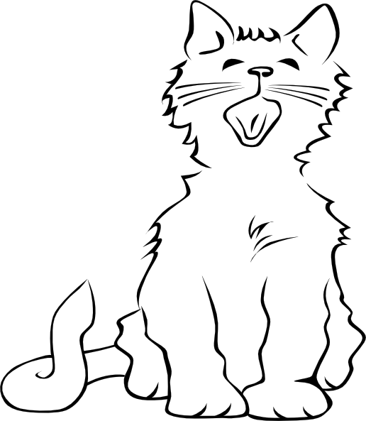 Yawn clipart black and white. Cat yawning clip art