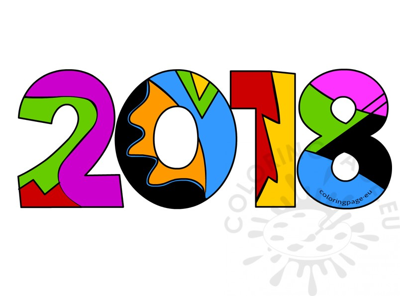 Year clipart 2018clipart. New coloring page