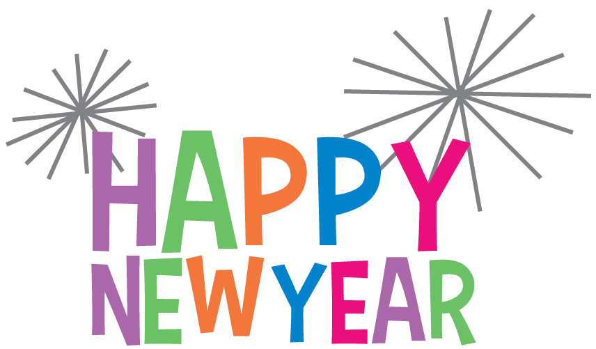 Year clipart. Happy new colourful transparent clip art black and white download