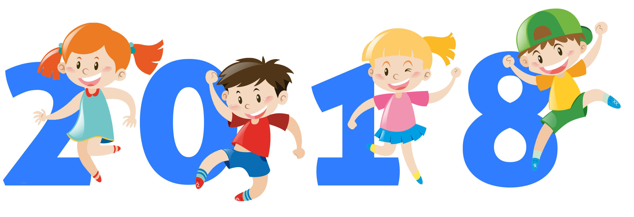 Year clipart. Happy new with kids png free library