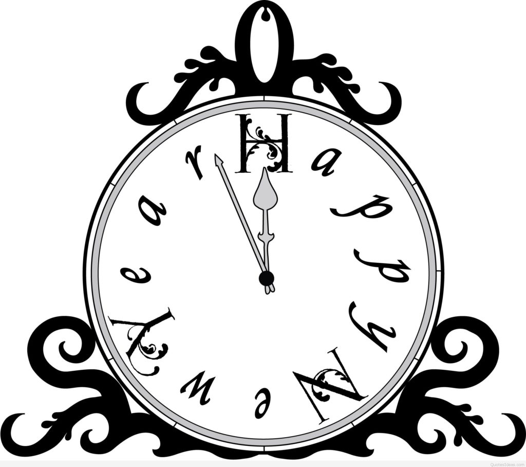 Year clipart black and white. Happy new images
