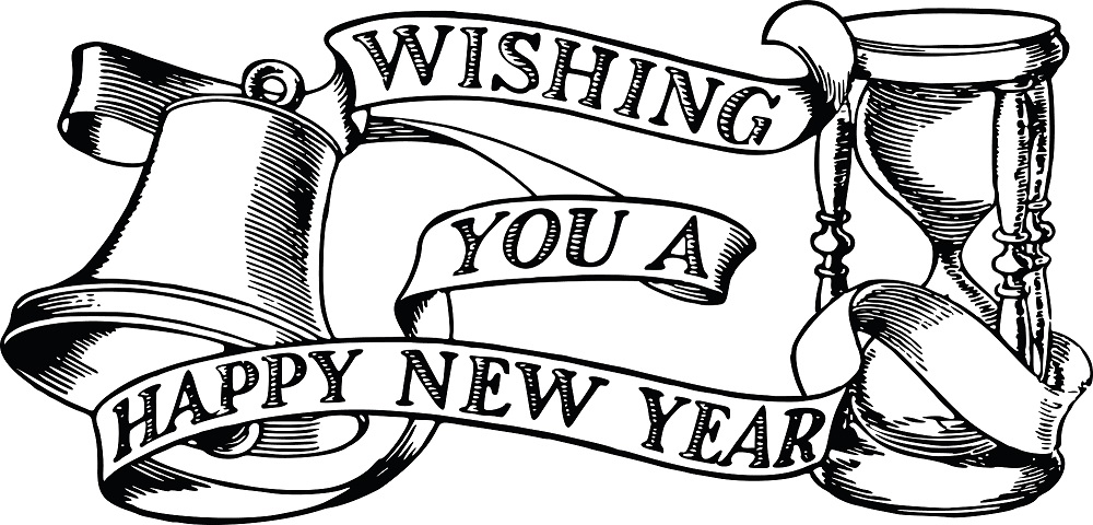 Year clipart black and white. Happy new funny clip