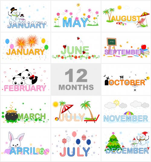 Year clipart preschool. Months of the printable