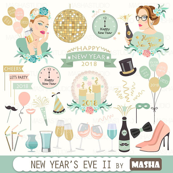 Year eve clipart eve party. New s ii with