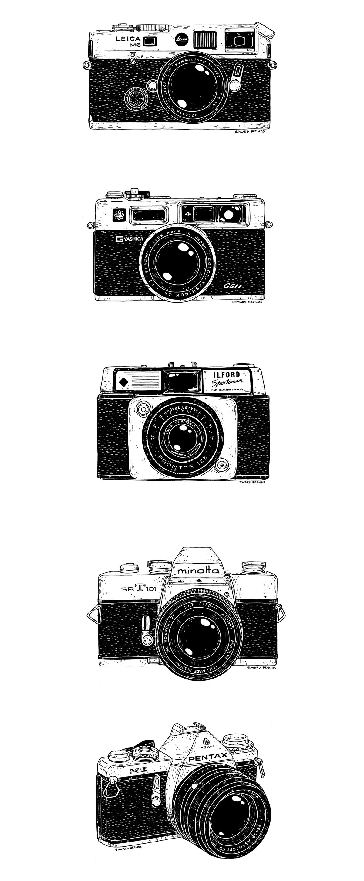 Yearbook clipart canon camera. Vintage cameras on behance