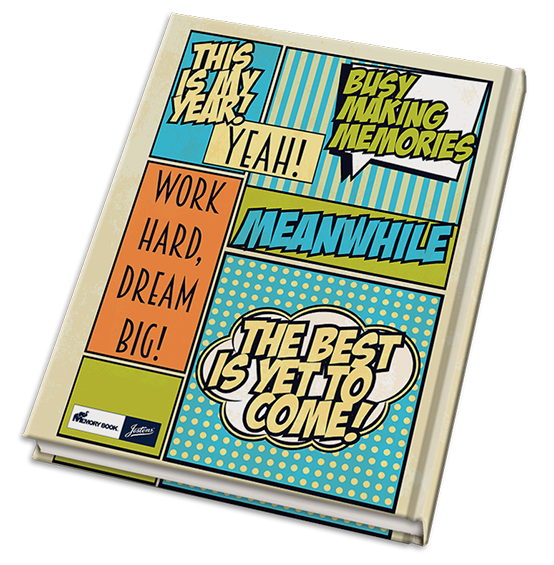 Dynamic cover theme comic. Yearbook clipart making memory clip art royalty free stock