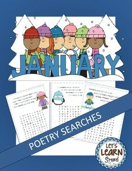 Years clipart january theme. Poetry word searches winter