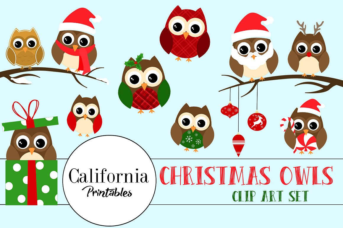 Years clipart owl. Christmas illustrations creative market