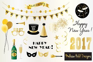 Years eve clipart border. New year s illustrations