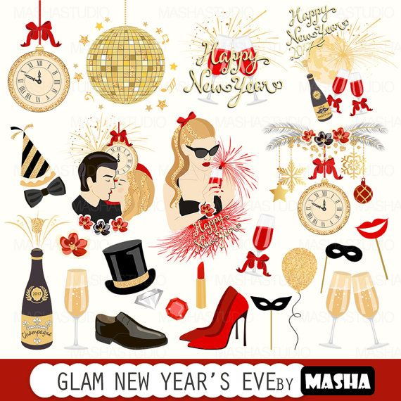Years eve clipart clip art. New year s glam