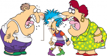 Yell clipart cartoon. Parents yelling at their clip royalty free library