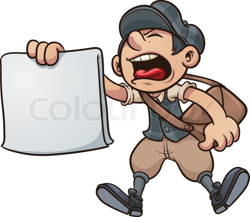 Yell clipart illustration. Cartoon paper boy yelling jpg transparent download