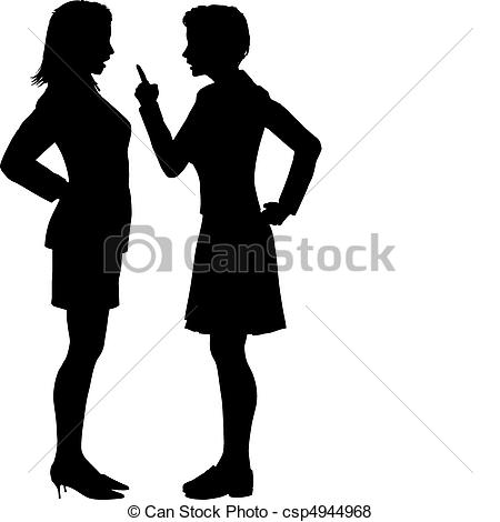 Women disagree fight argument. Yell clipart illustration clip art black and white