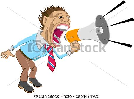 Yell clipart illustration. Shout a business man image free