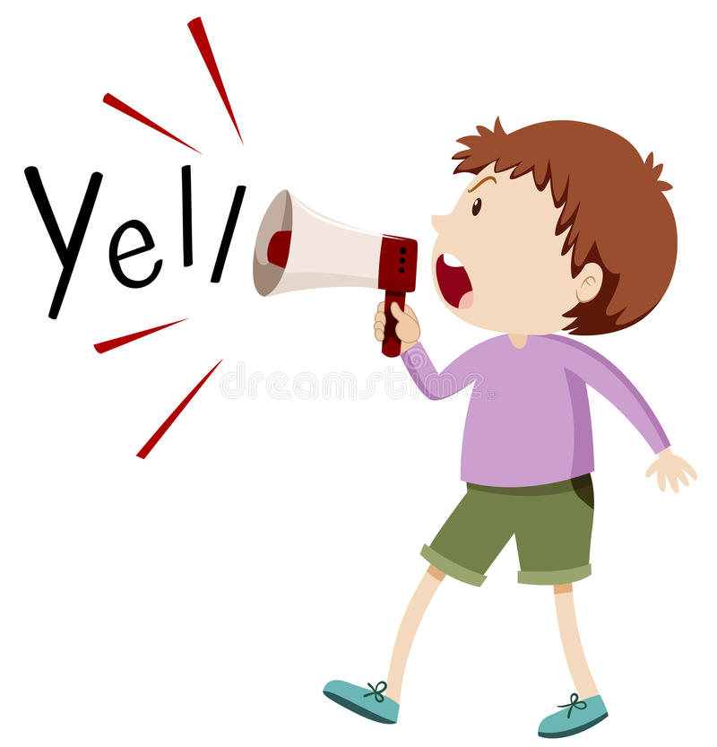 Yell clipart illustration. Boy yelling through speaker transparent download