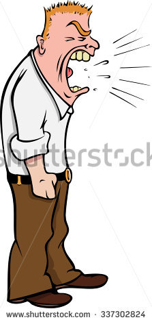 Yell clipart man shouting. Cartoon vector illustration office image royalty free library