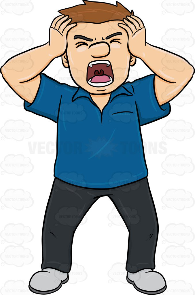 Yell clipart man shouting. A getting so frustrated svg free library