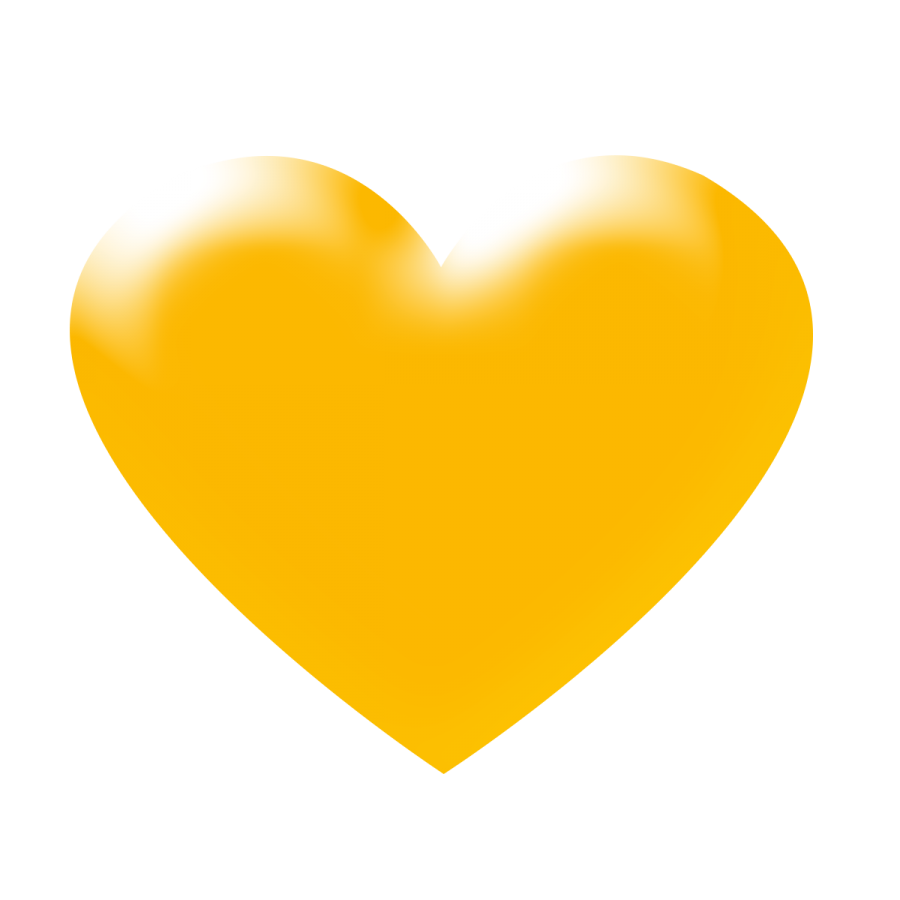 Yellow heart png. D transparent background