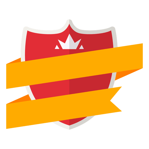Transparent ribbons vector. Red and yellow badge