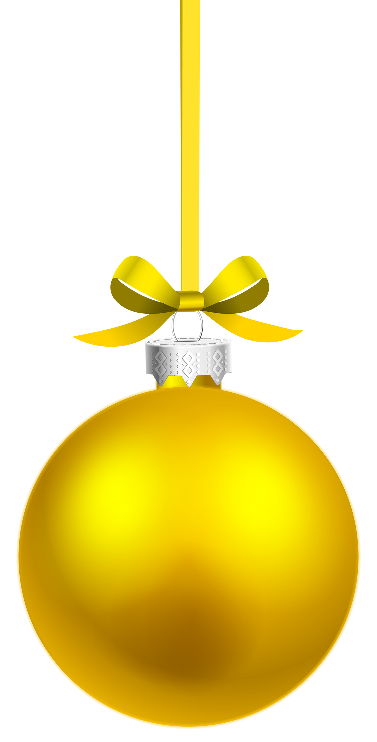 Yellow ball png. Hanging christmas clipart best