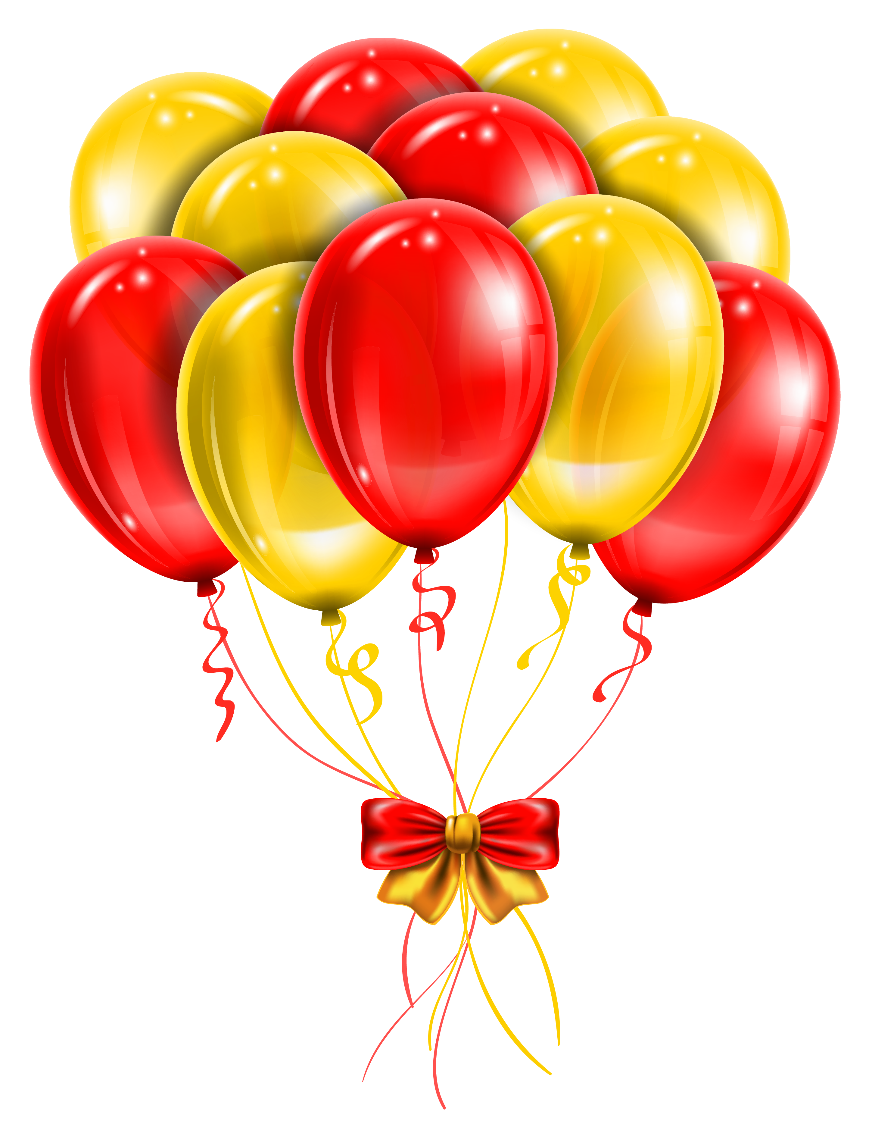 Yellow balloons png. Transparent red picture clipart