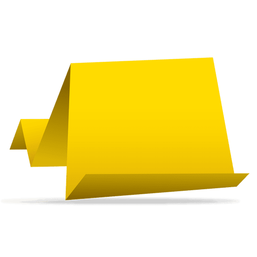 Banners vector png. Yellow origami paper banner