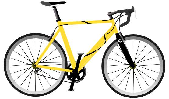 Yellow bicycle. Clip art clipartix