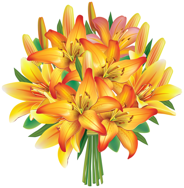 Flower bouquet drawing png. Yellow lilies flowers clipart