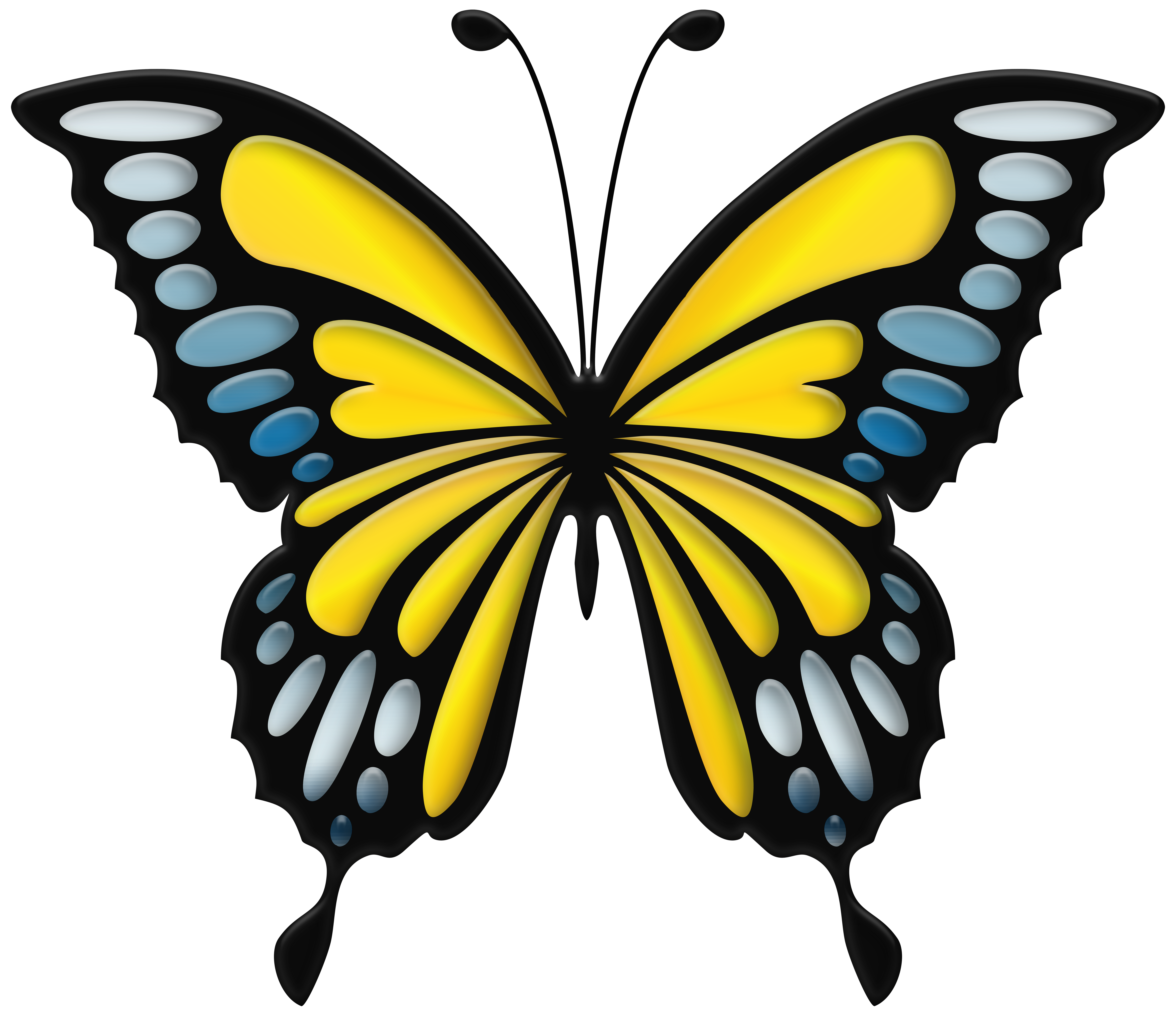 Yellow butterfly png. Blue clip art image