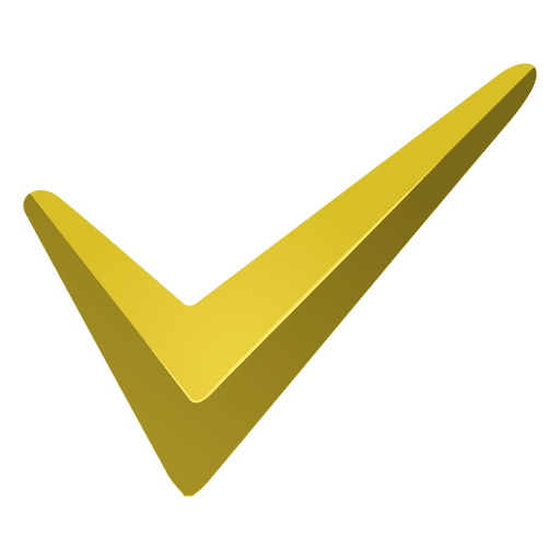 Vector checkmark correct. Yellow check mark icon