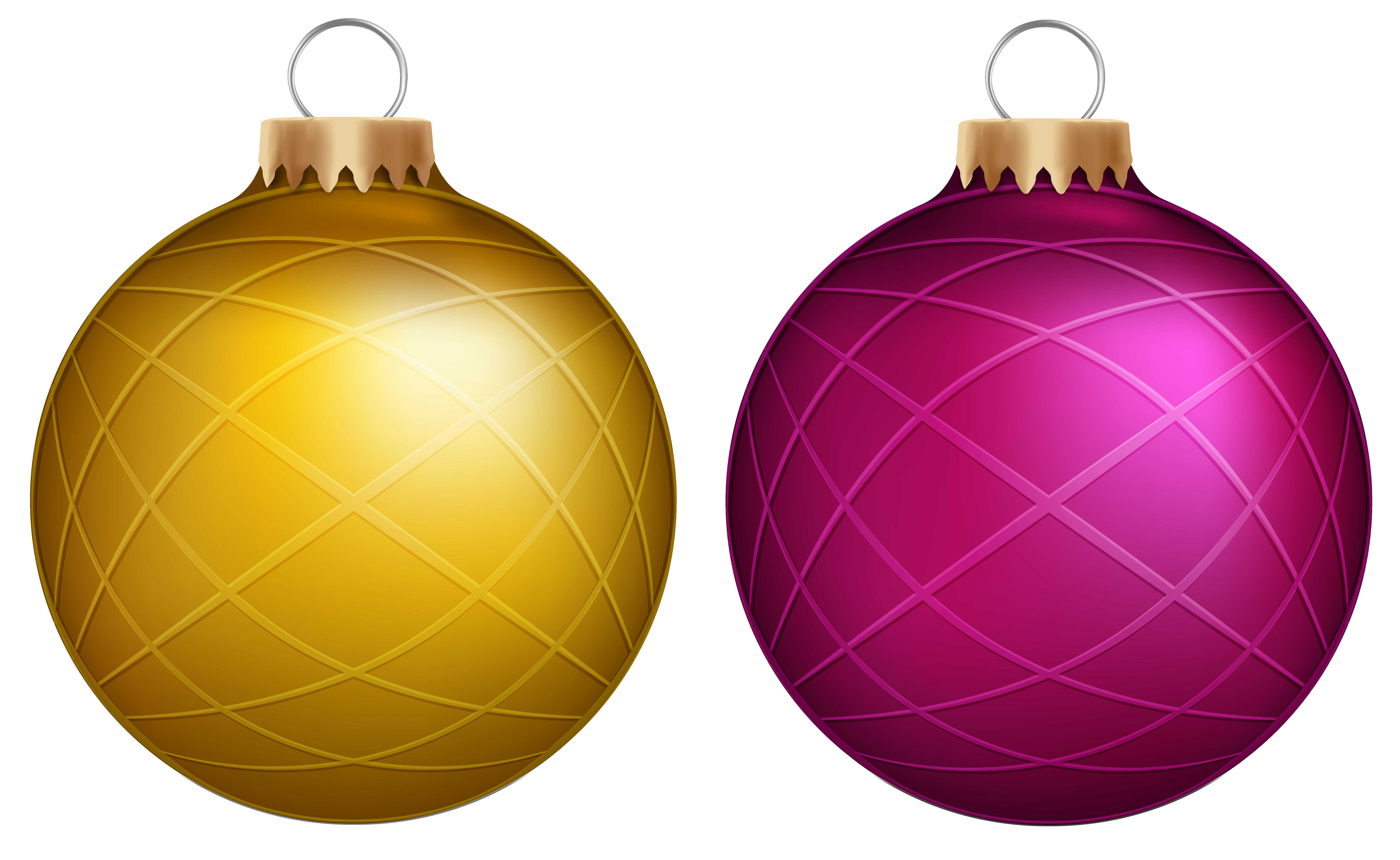 Yellow christmas ornaments png. And pink balls clip