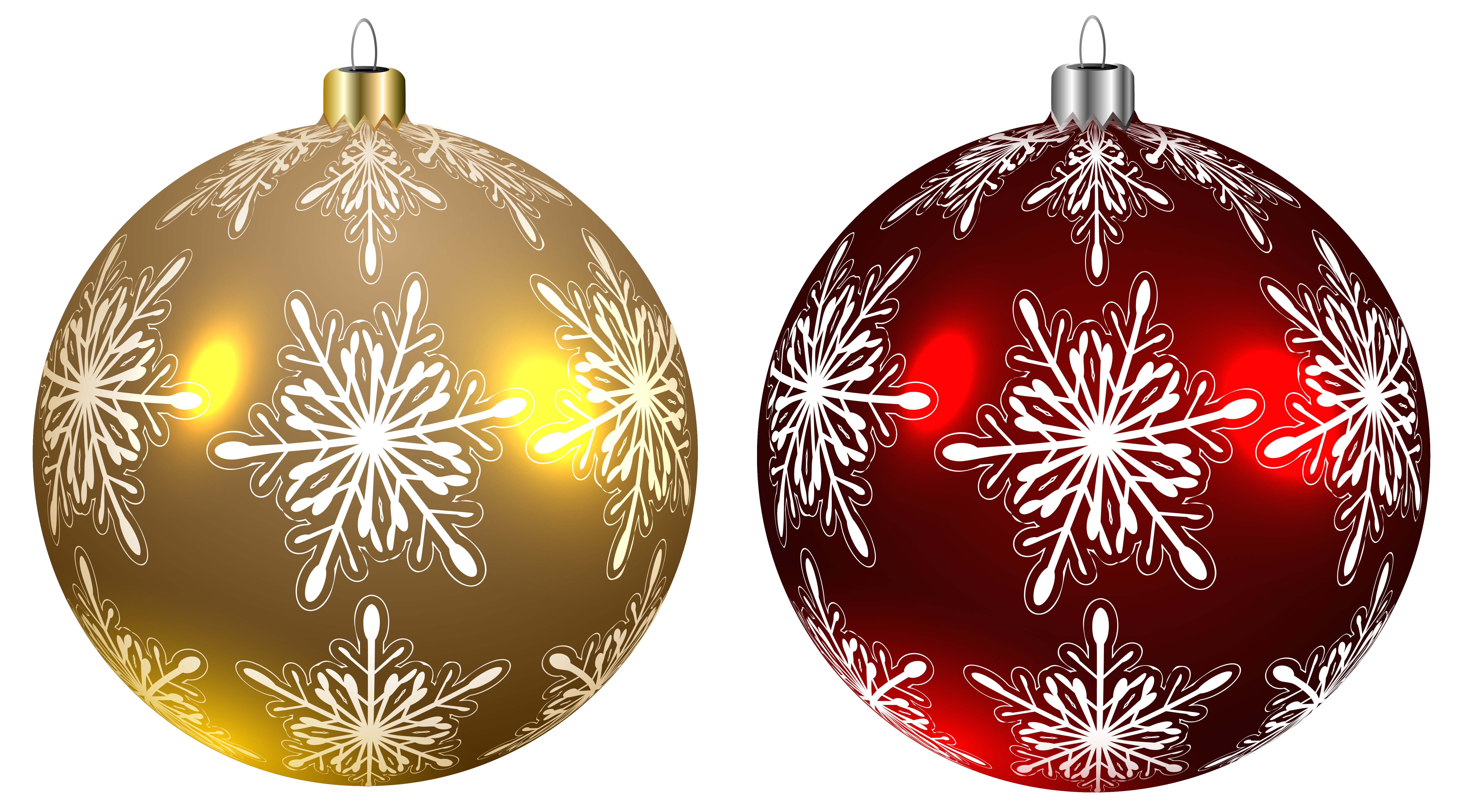 Yellow christmas ornaments png. Balls and red transparent