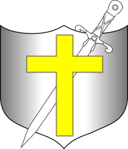 Yellow clipart sword. Cross and shield clip