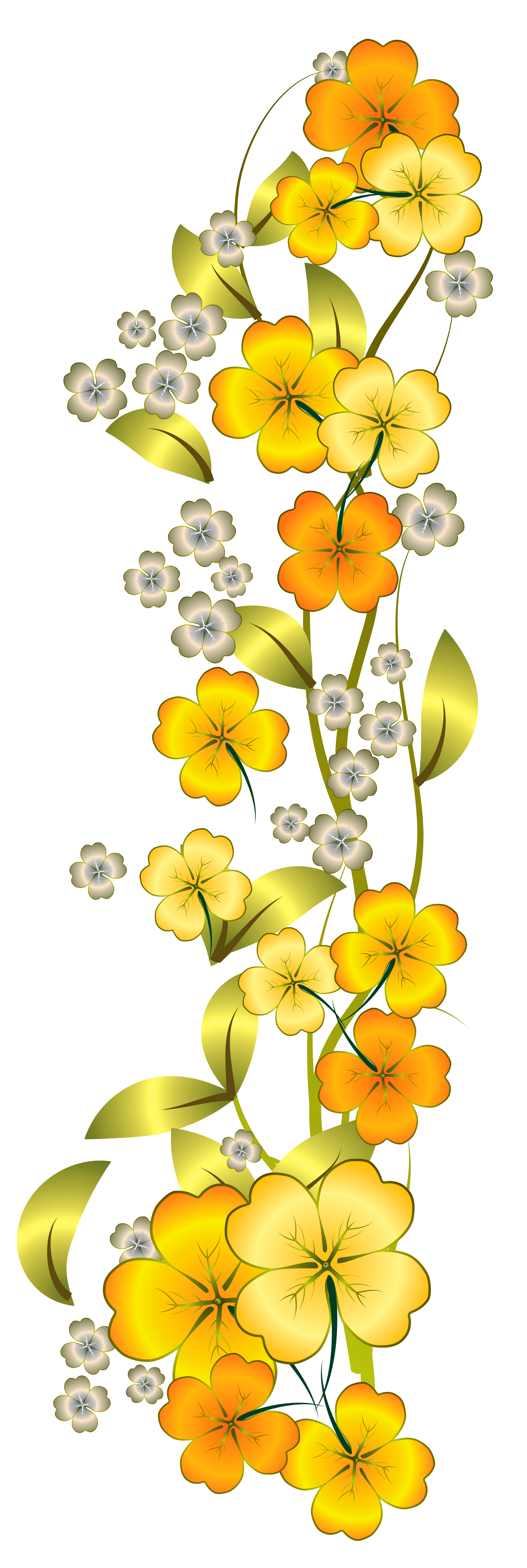 Yellow flowers png. Flower decor clipart gallery