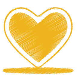 Yellow heart png. Icon origami colored pencil