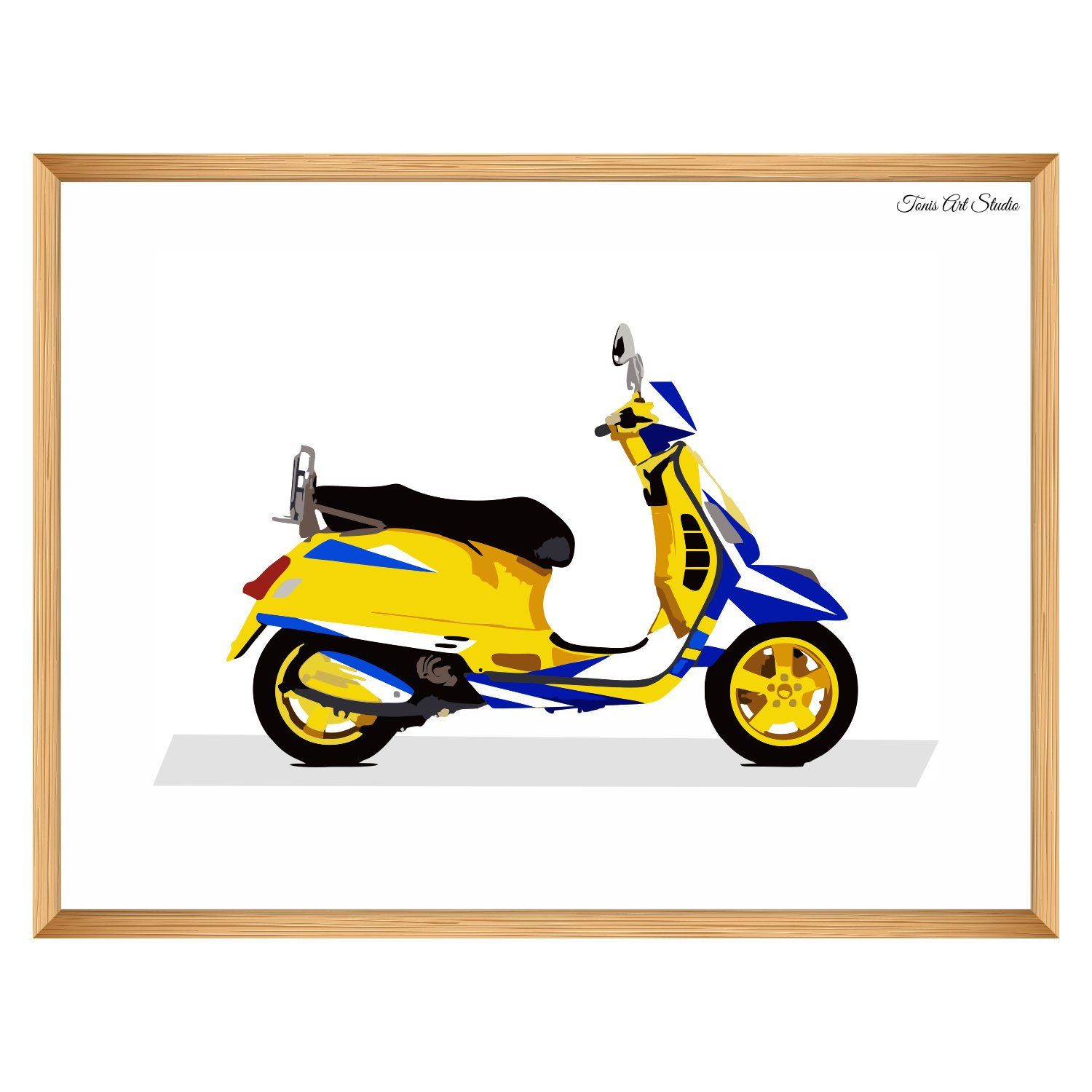 Yellow scooter. Print transportation decor for
