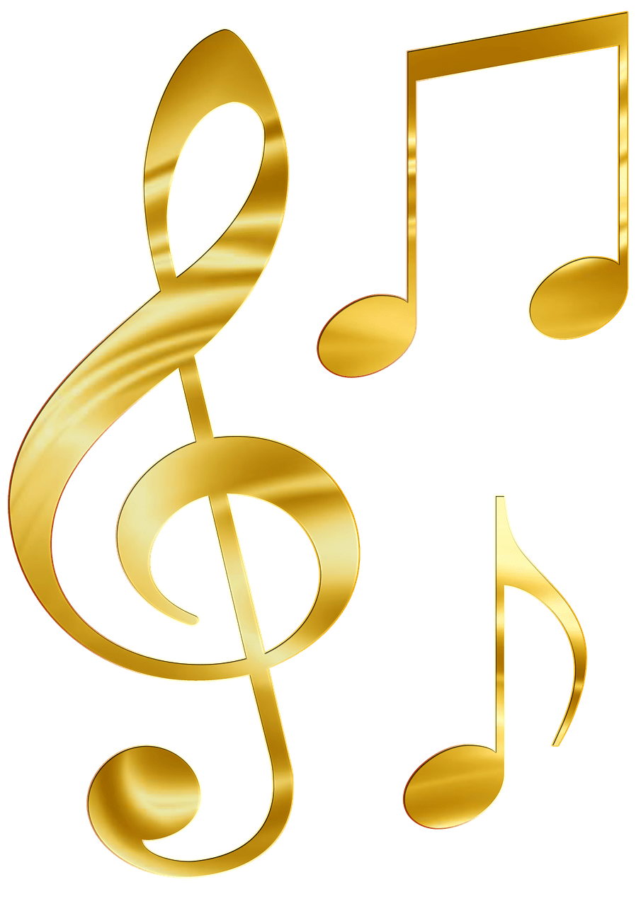 Yellow music notes png. Musical collection transparent stickpng