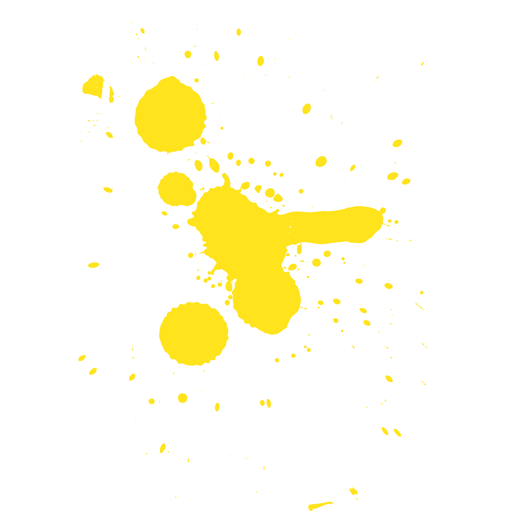 Yellow paint splatter png. Big saturday creativity and