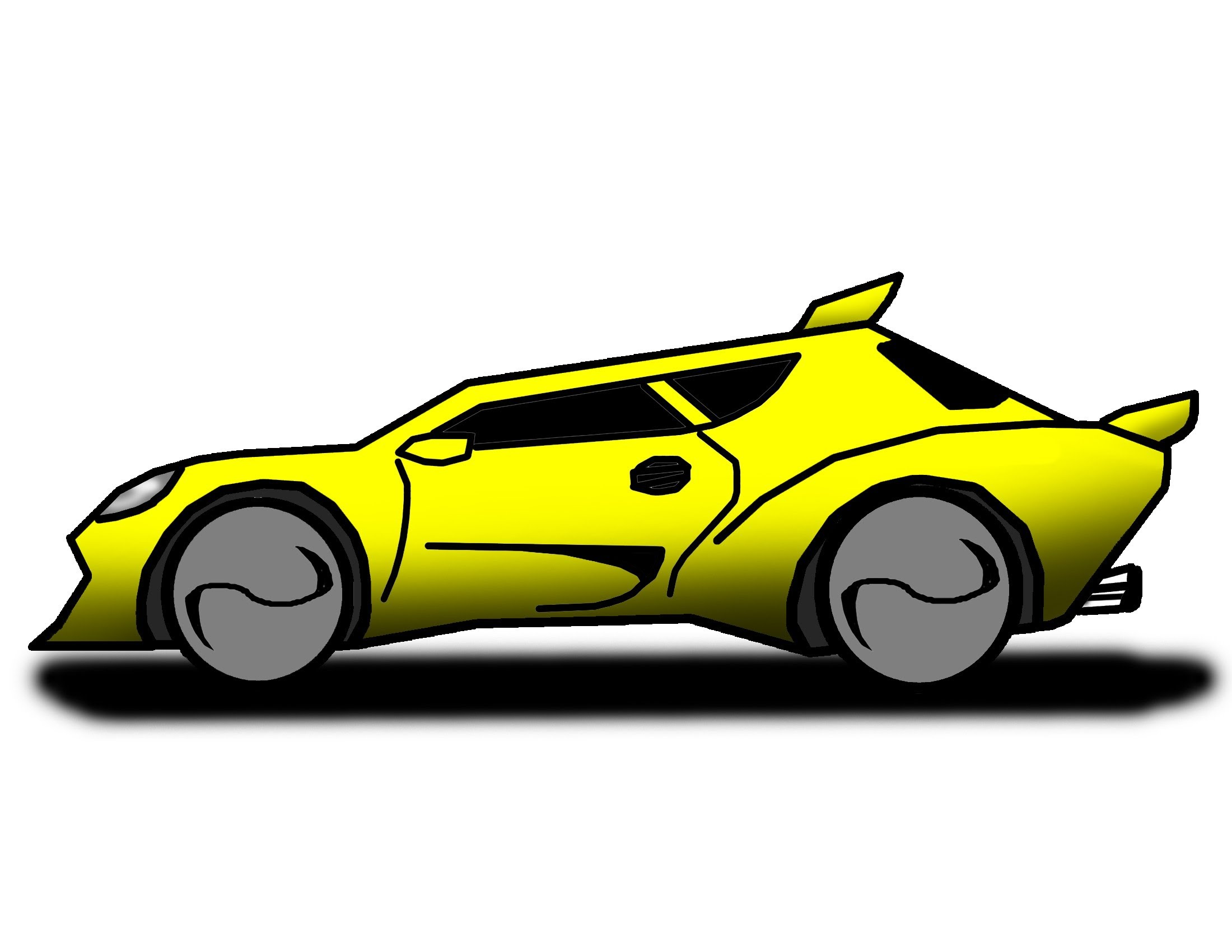 Yellow race car. Free cartoon download clip