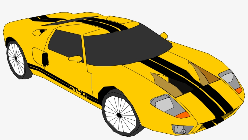 Yellow race car. Collection of clipart
